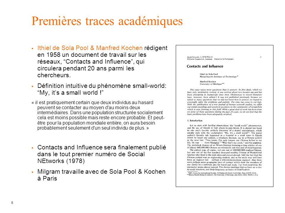 6 Premières traces académiques Ithiel de Sola Pool & Manfred Kochen rédigent en 1958 un document de travail sur les réseaux, Contacts and Influence, q