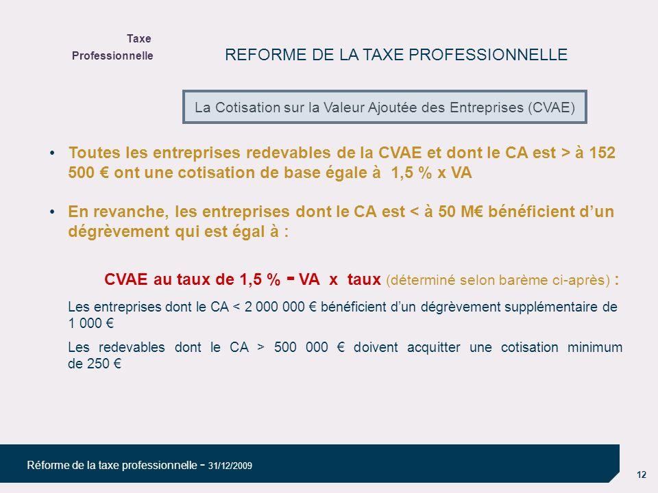 12 Réforme de la taxe professionnelle - 31/12/2009 REFORME DE LA TAXE PROFESSIONNELLE Toutes les entreprises redevables de la CVAE et dont le CA est > à 152 500 ont une cotisation de base égale à 1,5 % x VA En revanche, les entreprises dont le CA est < à 50 M bénéficient dun dégrèvement qui est égal à : CVAE au taux de 1,5 % - VA x taux (déterminé selon barème ci-après) : Les entreprises dont le CA < 2 000 000 bénéficient dun dégrèvement supplémentaire de 1 000 Les redevables dont le CA > 500 000 doivent acquitter une cotisation minimum de 250 Taxe Professionnelle La Cotisation sur la Valeur Ajoutée des Entreprises (CVAE)