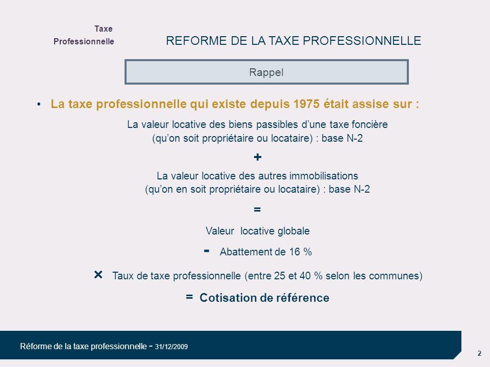 2 Réforme de la taxe professionnelle - 31/12/2009 REFORME DE LA TAXE PROFESSIONNELLE La taxe professionnelle qui existe depuis 1975 était assise sur : La valeur locative des biens passibles dune taxe foncière (quon soit propriétaire ou locataire) : base N-2 La valeur locative des autres immobilisations (quon en soit propriétaire ou locataire) : base N-2 = Valeur locative globale - Abattement de 16 % Taux de taxe professionnelle (entre 25 et 40 % selon les communes) = Cotisation de référence Rappel Taxe Professionnelle