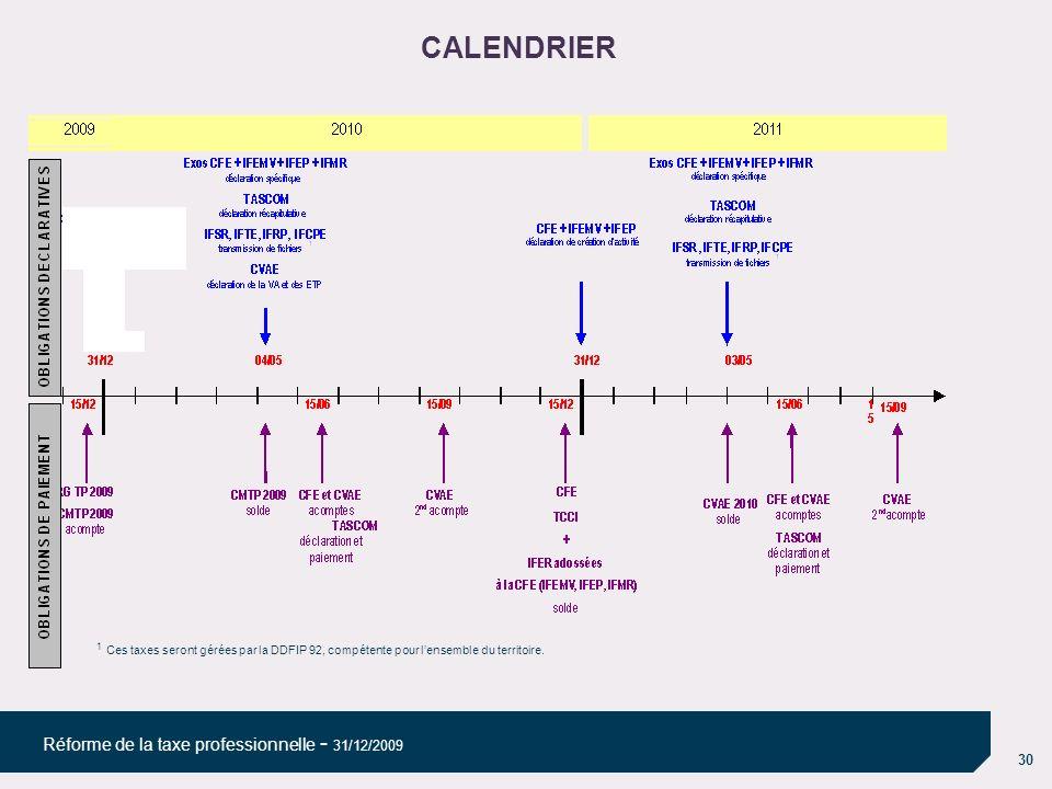 30 Réforme de la taxe professionnelle - 31/12/2009 CALENDRIER 1 Ces taxes seront gérées par la DDFIP 92, compétente pour lensemble du territoire.