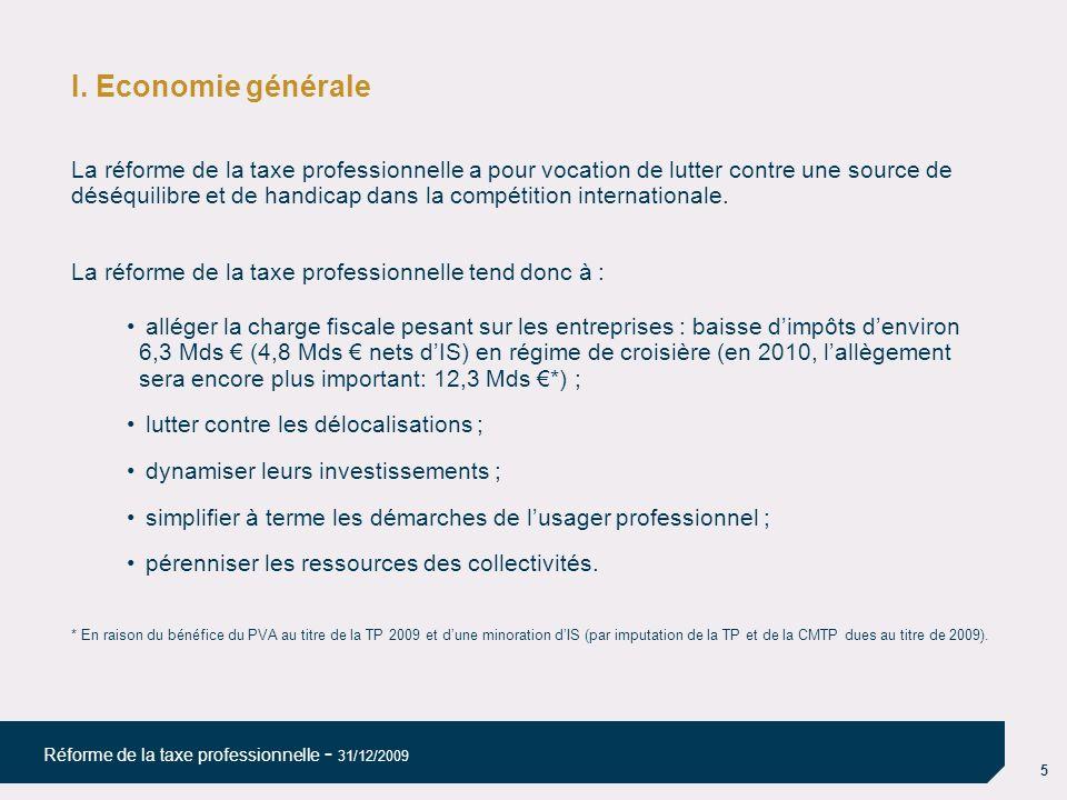 16 Réforme de la taxe professionnelle - 31/12/2009 REFORME DE LA TAXE PROFESSIONNELLE Exemple 3 CA : 15 000 000 VA : 10 000 000 CVAE théorique : 10 000 000 x 1,5 % = 150 000 Taux de dégrèvement0,650 % Dégrèvement : 150 000 - (10 000 000 x 0,650 %) = 65 000 CVAE = 150 000 – 65 000= 85 000 Frais de gestion 1% = 850 CVAE = 85 850 Taxe Professionnelle La Cotisation sur la Valeur Ajoutée des Entreprises (CVAE)