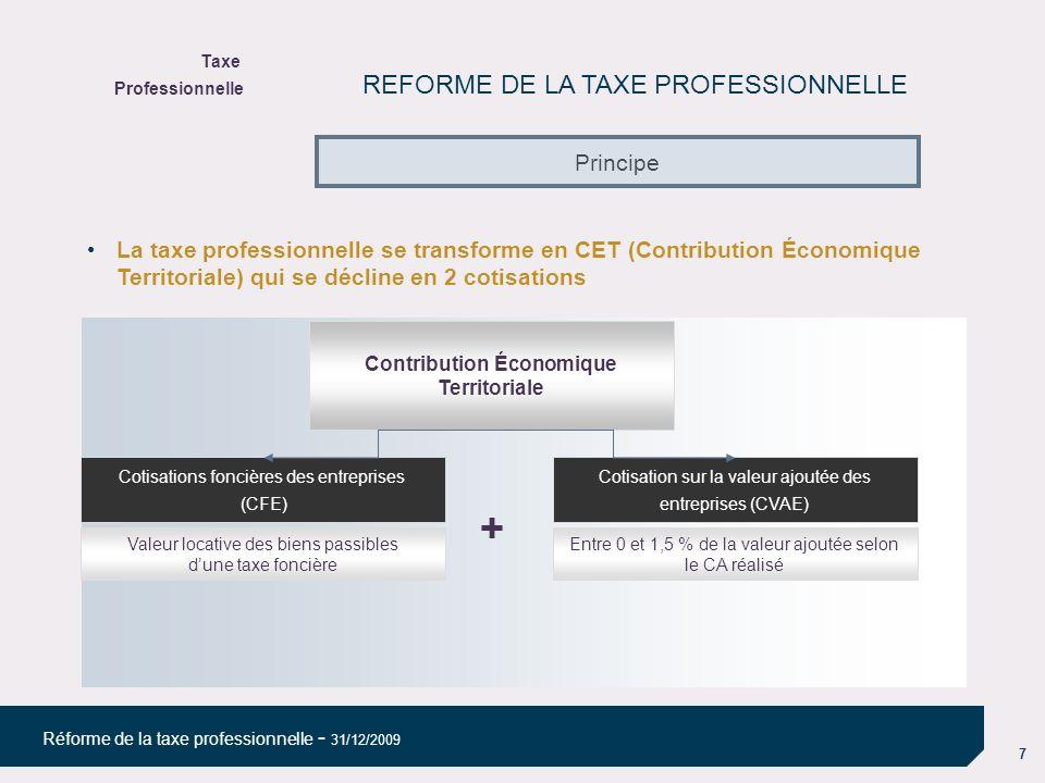18 Réforme de la taxe professionnelle - 31/12/2009 La Cotisation sur la Valeur Ajoutée des Entreprises (CVAE) : règles de répartition du produit centre collectivités territoriales La répartition du produit de la CVAE aux collectivités affectataires se fera selon deux clés : - le nombre de salariés (ETP) employés par établissement au cours de lannée précédente (N-1) : une déclaration spécifique nouvelle est prévue pour les entreprises de plus de 152 500 de CA début mai de lannée N.