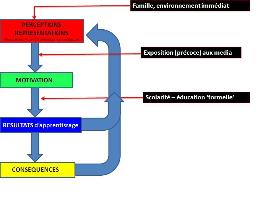Hypothèse de la motivation spirale Environnement immédiat (famille…) Représentations (précoces) Exposition (précoce) aux media Représentations (altérées) Éducation formelle (scolarité…) Résultats dapprentissage Conséquences sociales et économiques
