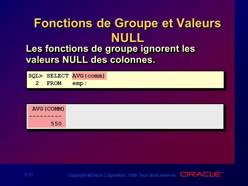 5-10 Copyright Oracle Corporation, 1998. Tous droits réservés. Fonctions de Groupe et Valeurs NULL Les fonctions de groupe ignorent les valeurs NULL d