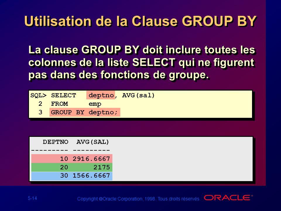 5-14 Copyright Oracle Corporation, 1998. Tous droits réservés. Utilisation de la Clause GROUP BY La clause GROUP BY doit inclure toutes les colonnes d