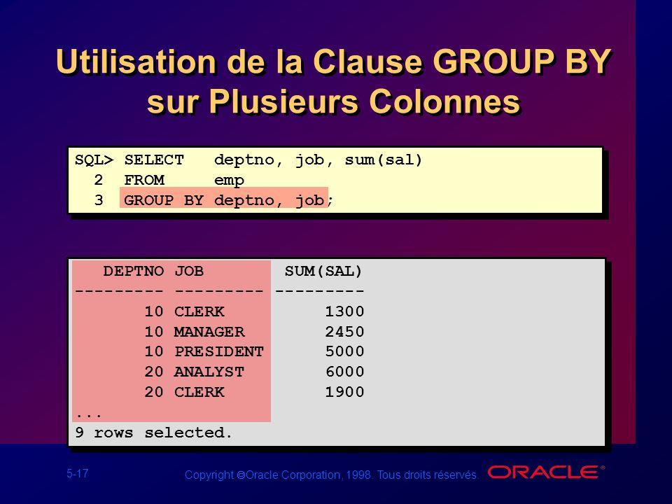 5-17 Copyright Oracle Corporation, 1998. Tous droits réservés. Utilisation de la Clause GROUP BY sur Plusieurs Colonnes SQL> SELECT deptno, job, sum(s