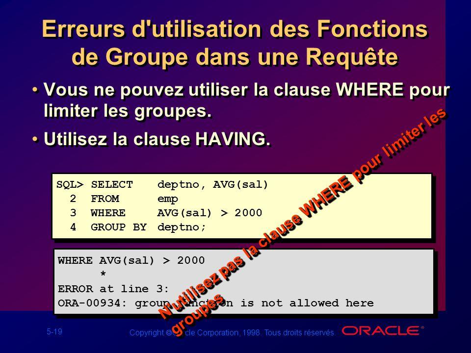 5-19 Copyright Oracle Corporation, 1998. Tous droits réservés. Erreurs d'utilisation des Fonctions de Groupe dans une Requête Vous ne pouvez utiliser