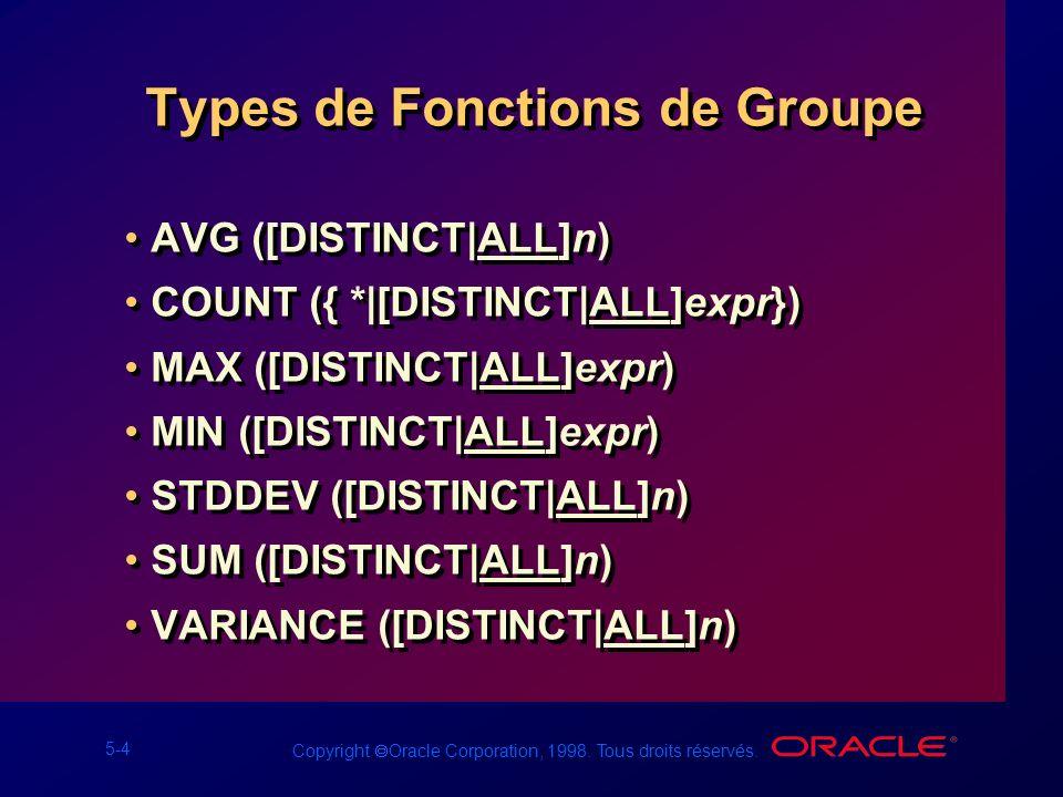 5-4 Copyright Oracle Corporation, 1998. Tous droits réservés. Types de Fonctions de Groupe AVG ([DISTINCT|ALL]n) COUNT ({ *|[DISTINCT|ALL]expr}) MAX (