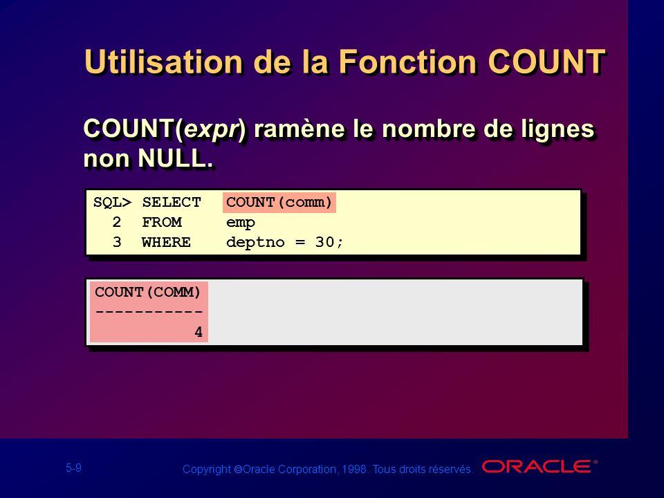 5-9 Copyright Oracle Corporation, 1998. Tous droits réservés. Utilisation de la Fonction COUNT COUNT(expr) ramène le nombre de lignes non NULL. SQL> S