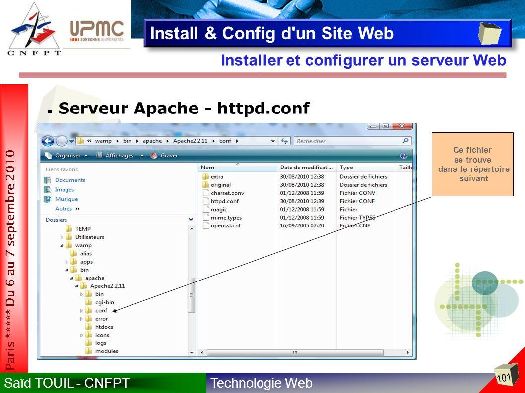 Technologie WebSaïd TOUIL - CNFPT 101 Paris ***** Du 6 au 7 septembre 2010 Installer et configurer un serveur Web Install & Config d un Site Web Serveur Apache - httpd.conf Ce fichier se trouve dans le répertoire suivant