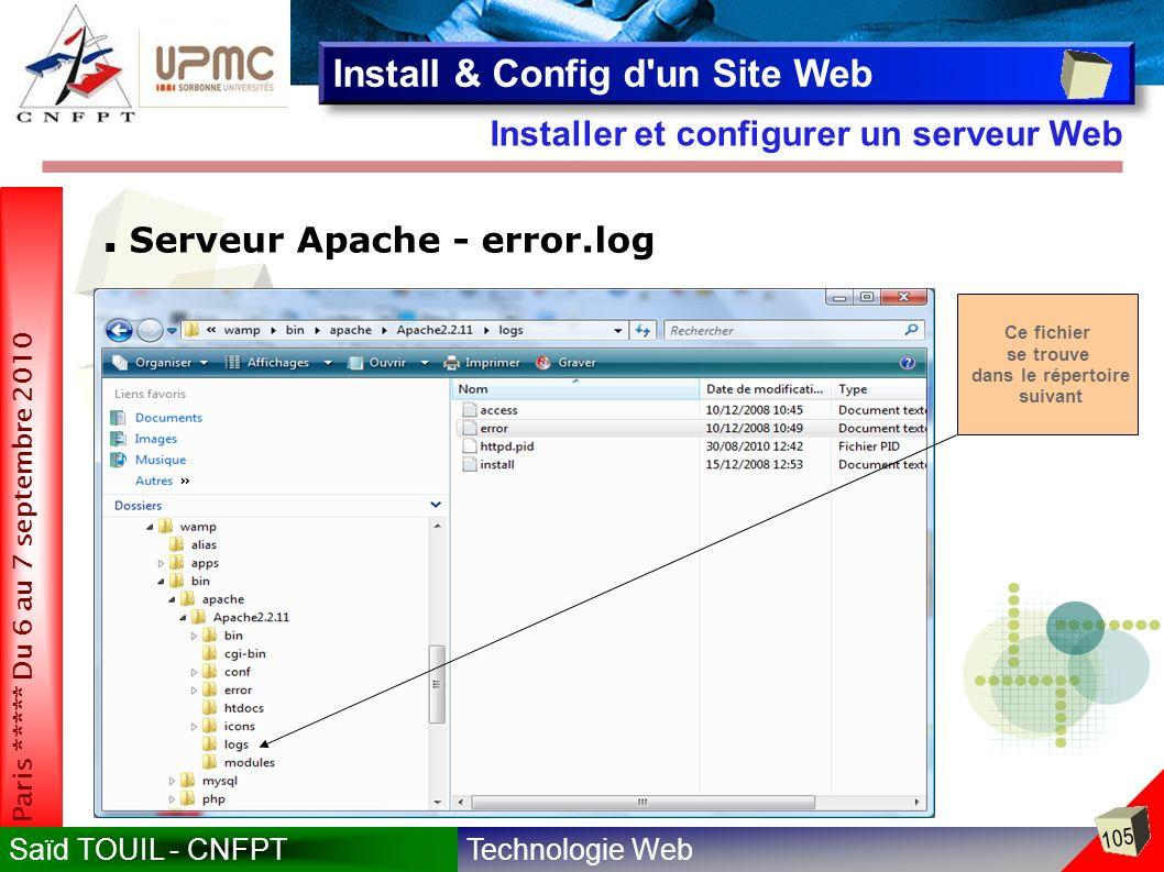 Technologie WebSaïd TOUIL - CNFPT 105 Paris ***** Du 6 au 7 septembre 2010 Installer et configurer un serveur Web Install & Config d un Site Web Serveur Apache - error.log Ce fichier se trouve dans le répertoire suivant