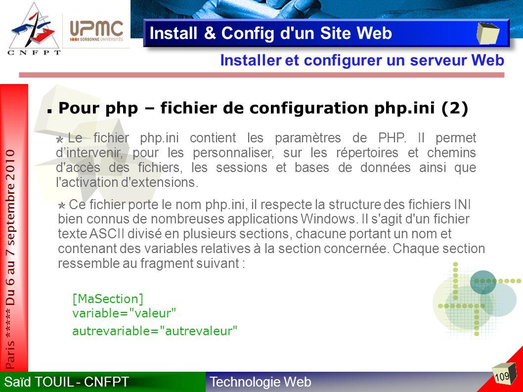 Technologie WebSaïd TOUIL - CNFPT 109 Paris ***** Du 6 au 7 septembre 2010 Installer et configurer un serveur Web Install & Config d un Site Web Pour php – fichier de configuration php.ini (2) Le fichier php.ini contient les paramètres de PHP.