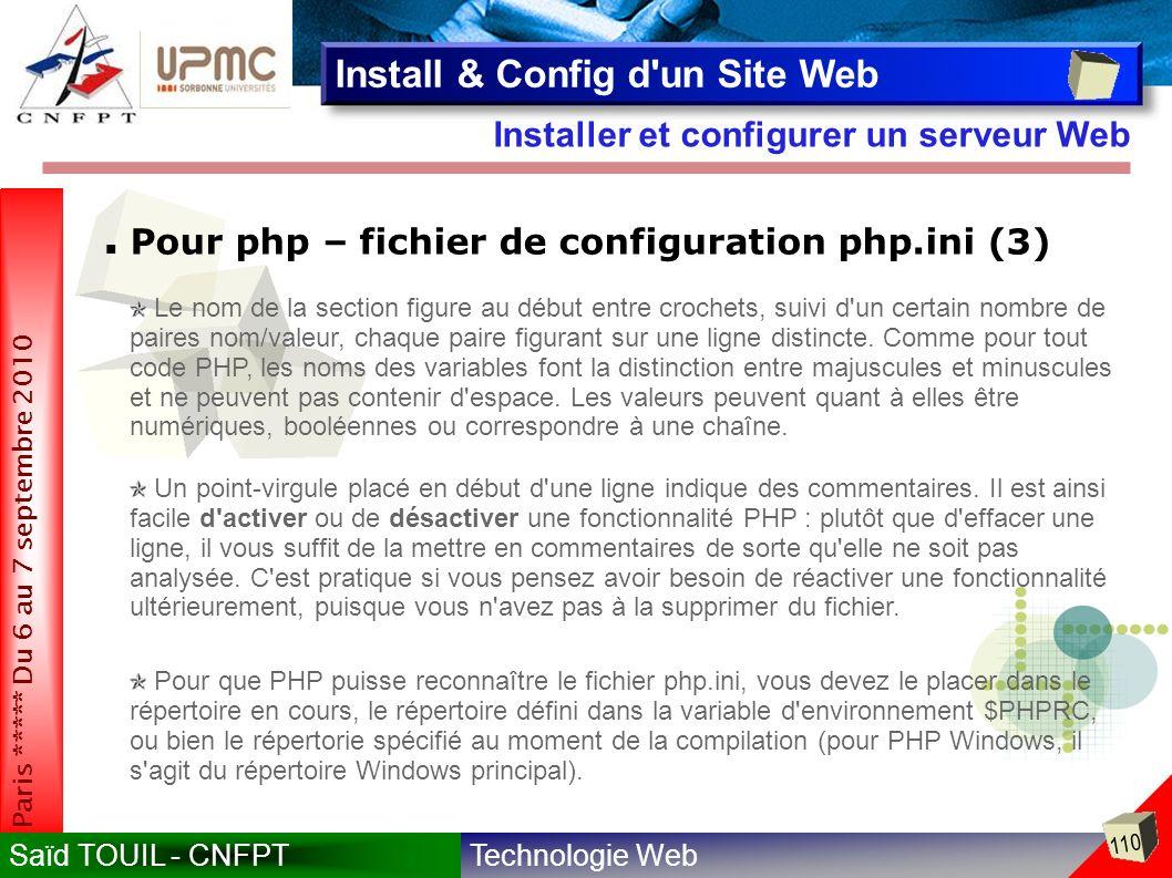 Technologie WebSaïd TOUIL - CNFPT 110 Paris ***** Du 6 au 7 septembre 2010 Installer et configurer un serveur Web Install & Config d un Site Web Pour php – fichier de configuration php.ini (3) Le nom de la section figure au début entre crochets, suivi d un certain nombre de paires nom/valeur, chaque paire figurant sur une ligne distincte.