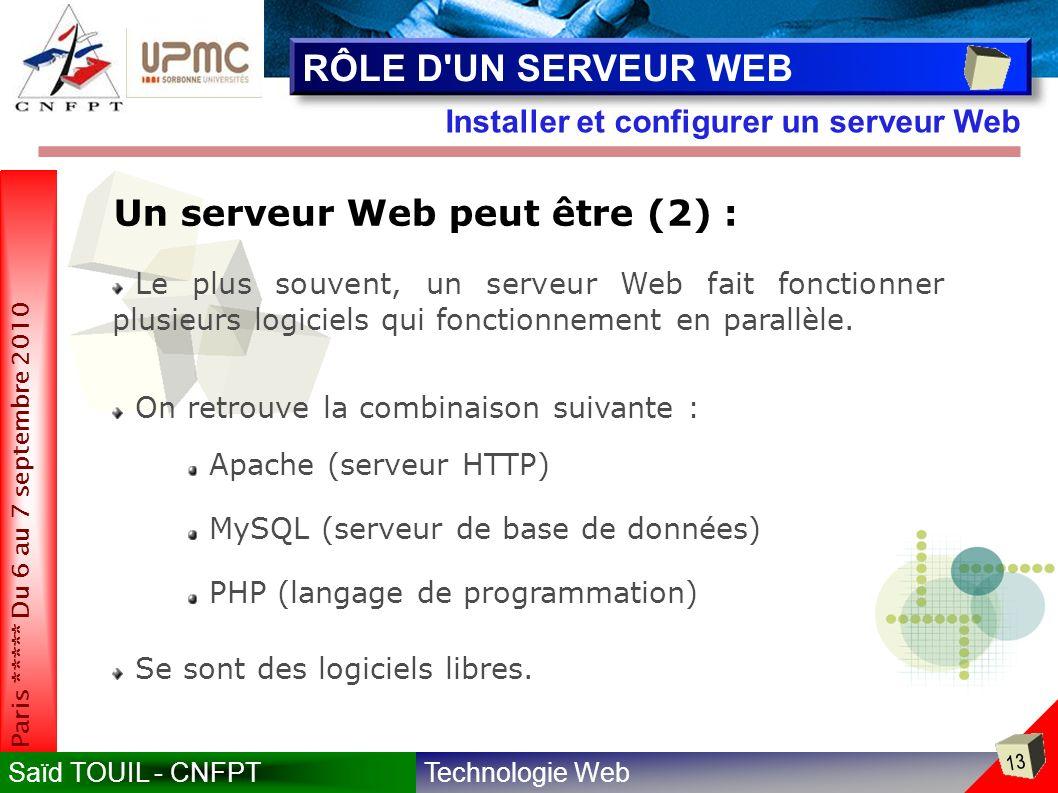 Technologie WebSaïd TOUIL - CNFPT 13 Paris ***** Du 6 au 7 septembre 2010 Installer et configurer un serveur Web RÔLE D UN SERVEUR WEB Le plus souvent, un serveur Web fait fonctionner plusieurs logiciels qui fonctionnement en parallèle.