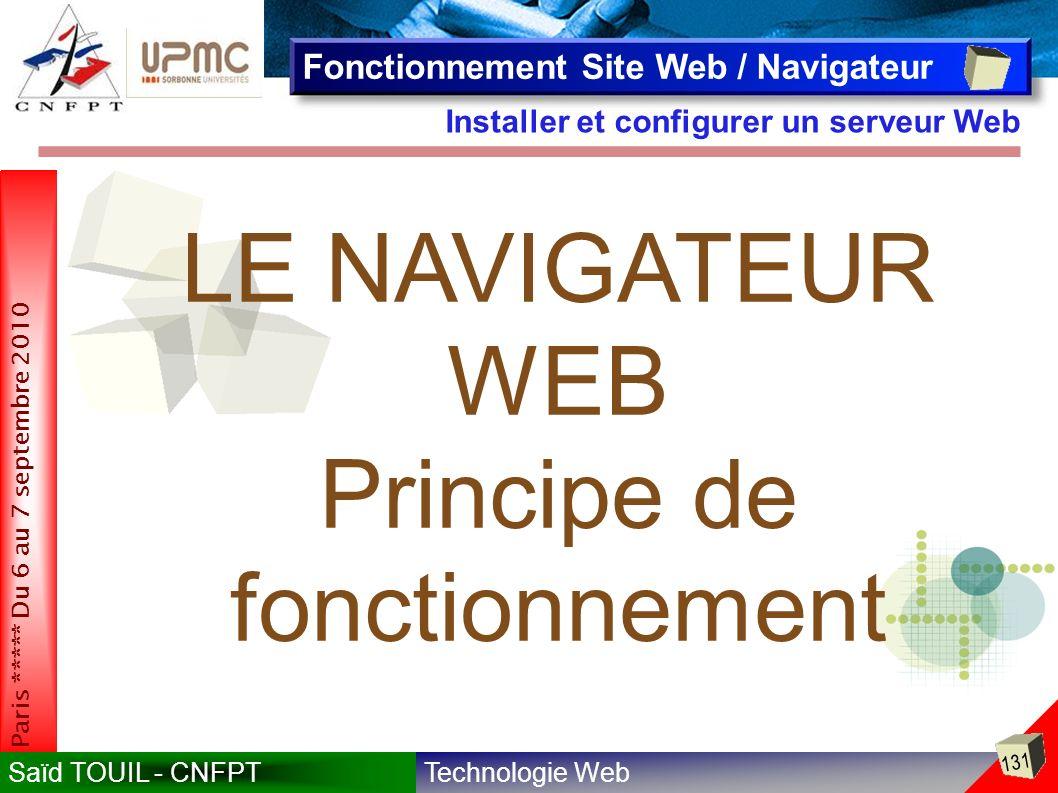 Technologie WebSaïd TOUIL - CNFPT 131 Paris ***** Du 6 au 7 septembre 2010 Installer et configurer un serveur Web Fonctionnement Site Web / Navigateur LE NAVIGATEUR WEB Principe de fonctionnement