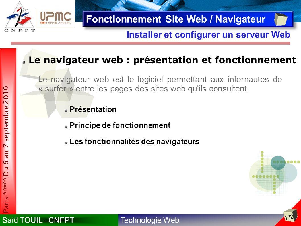 Technologie WebSaïd TOUIL - CNFPT 132 Paris ***** Du 6 au 7 septembre 2010 Installer et configurer un serveur Web Fonctionnement Site Web / Navigateur Le navigateur web : présentation et fonctionnement Le navigateur web est le logiciel permettant aux internautes de « surfer » entre les pages des sites web qu ils consultent.
