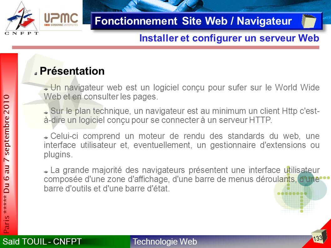 Technologie WebSaïd TOUIL - CNFPT 133 Paris ***** Du 6 au 7 septembre 2010 Installer et configurer un serveur Web Fonctionnement Site Web / Navigateur Présentation Un navigateur web est un logiciel conçu pour sufer sur le World Wide Web et en consulter les pages.