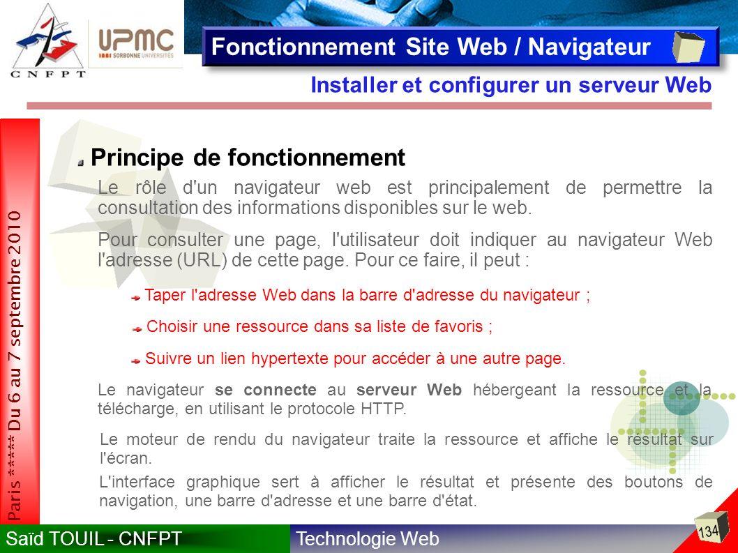 Technologie WebSaïd TOUIL - CNFPT 134 Paris ***** Du 6 au 7 septembre 2010 Installer et configurer un serveur Web Fonctionnement Site Web / Navigateur Principe de fonctionnement Le rôle d un navigateur web est principalement de permettre la consultation des informations disponibles sur le web.