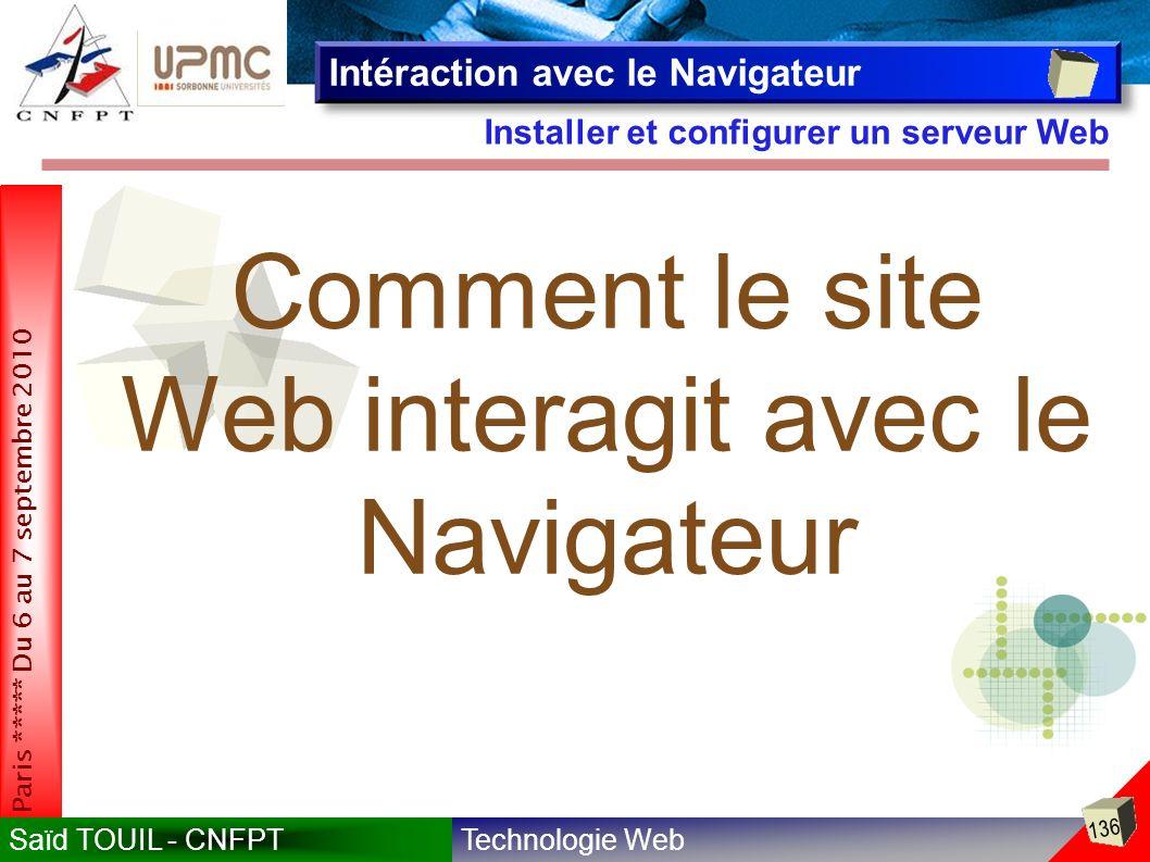 Technologie WebSaïd TOUIL - CNFPT 136 Paris ***** Du 6 au 7 septembre 2010 Installer et configurer un serveur Web Intéraction avec le Navigateur Comment le site Web interagit avec le Navigateur