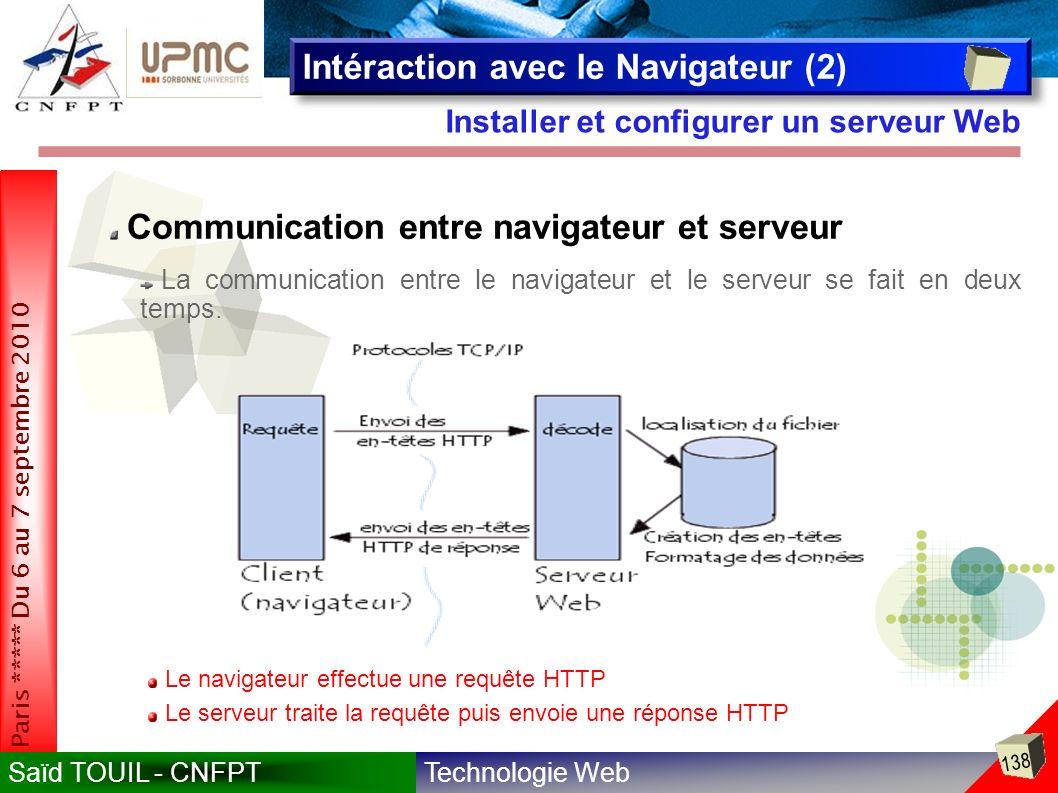 Technologie WebSaïd TOUIL - CNFPT 138 Paris ***** Du 6 au 7 septembre 2010 Installer et configurer un serveur Web Intéraction avec le Navigateur (2) Communication entre navigateur et serveur La communication entre le navigateur et le serveur se fait en deux temps.