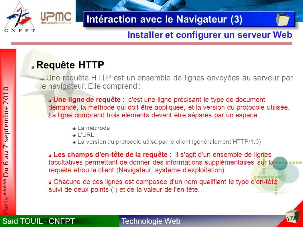 Technologie WebSaïd TOUIL - CNFPT 139 Paris ***** Du 6 au 7 septembre 2010 Installer et configurer un serveur Web Intéraction avec le Navigateur (3) Requête HTTP Une requête HTTP est un ensemble de lignes envoyées au serveur par le navigateur.