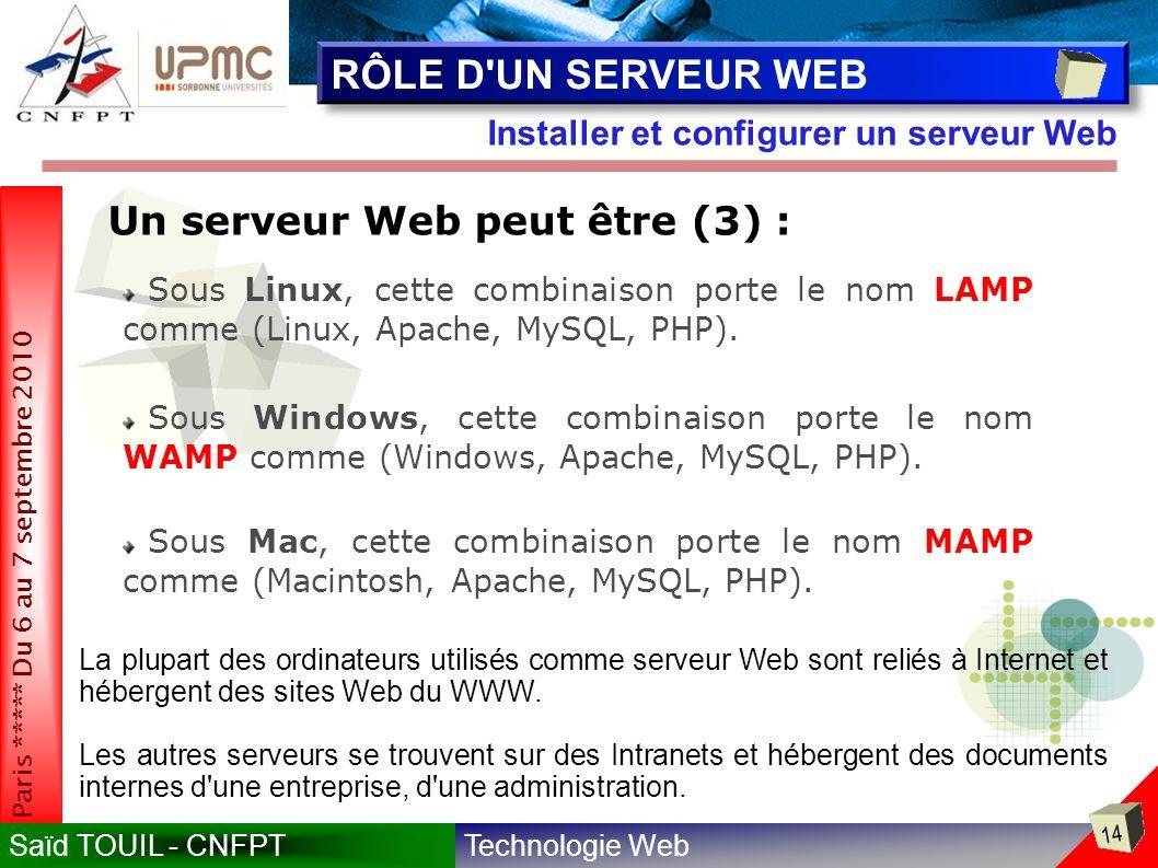 Technologie WebSaïd TOUIL - CNFPT 14 Paris ***** Du 6 au 7 septembre 2010 Installer et configurer un serveur Web RÔLE D UN SERVEUR WEB Sous Linux, cette combinaison porte le nom LAMP comme (Linux, Apache, MySQL, PHP).