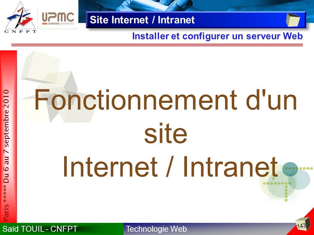 Technologie WebSaïd TOUIL - CNFPT 143 Paris ***** Du 6 au 7 septembre 2010 Installer et configurer un serveur Web Site Internet / Intranet Fonctionnement d un site Internet / Intranet