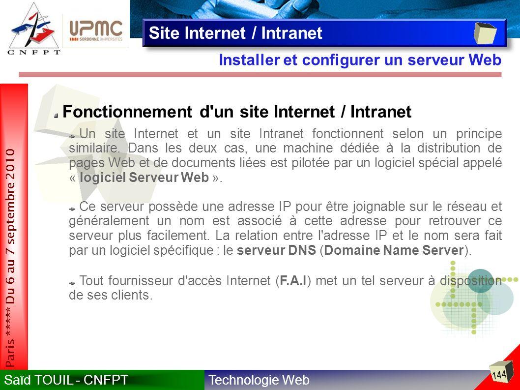Technologie WebSaïd TOUIL - CNFPT 144 Paris ***** Du 6 au 7 septembre 2010 Installer et configurer un serveur Web Site Internet / Intranet Fonctionnement d un site Internet / Intranet Un site Internet et un site Intranet fonctionnent selon un principe similaire.