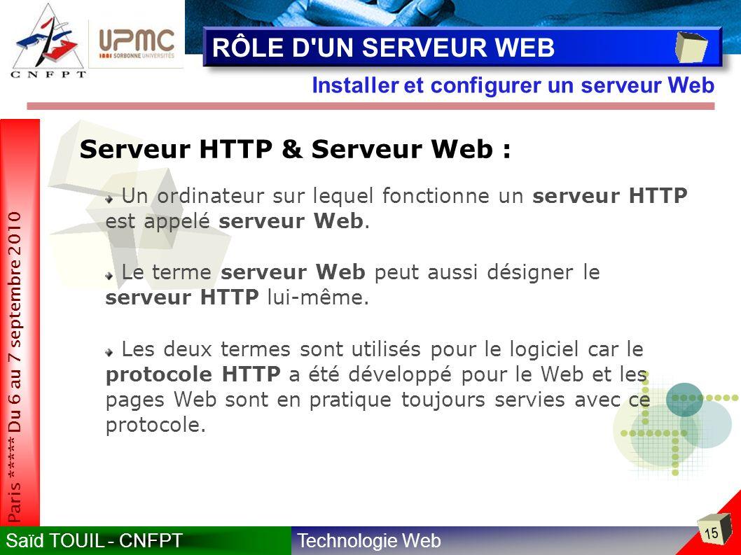 Technologie WebSaïd TOUIL - CNFPT 15 Paris ***** Du 6 au 7 septembre 2010 Installer et configurer un serveur Web RÔLE D UN SERVEUR WEB Serveur HTTP & Serveur Web : Un ordinateur sur lequel fonctionne un serveur HTTP est appelé serveur Web.