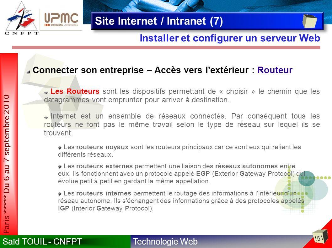 Technologie WebSaïd TOUIL - CNFPT 151 Paris ***** Du 6 au 7 septembre 2010 Installer et configurer un serveur Web Site Internet / Intranet (7) Connecter son entreprise – Accès vers l extérieur : Routeur Les Routeurs sont les dispositifs permettant de « choisir » le chemin que les datagrammes vont emprunter pour arriver à destination.