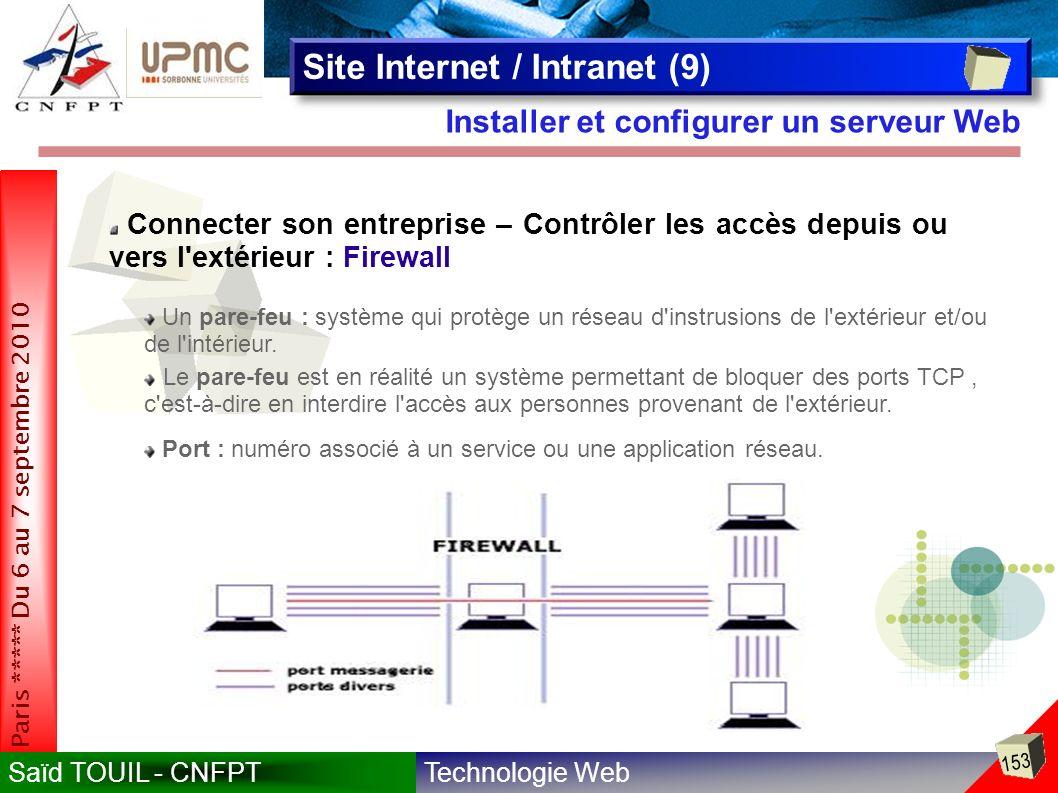 Technologie WebSaïd TOUIL - CNFPT 153 Paris ***** Du 6 au 7 septembre 2010 Installer et configurer un serveur Web Site Internet / Intranet (9) Connecter son entreprise – Contrôler les accès depuis ou vers l extérieur : Firewall Un pare-feu : système qui protège un réseau d instrusions de l extérieur et/ou de l intérieur.