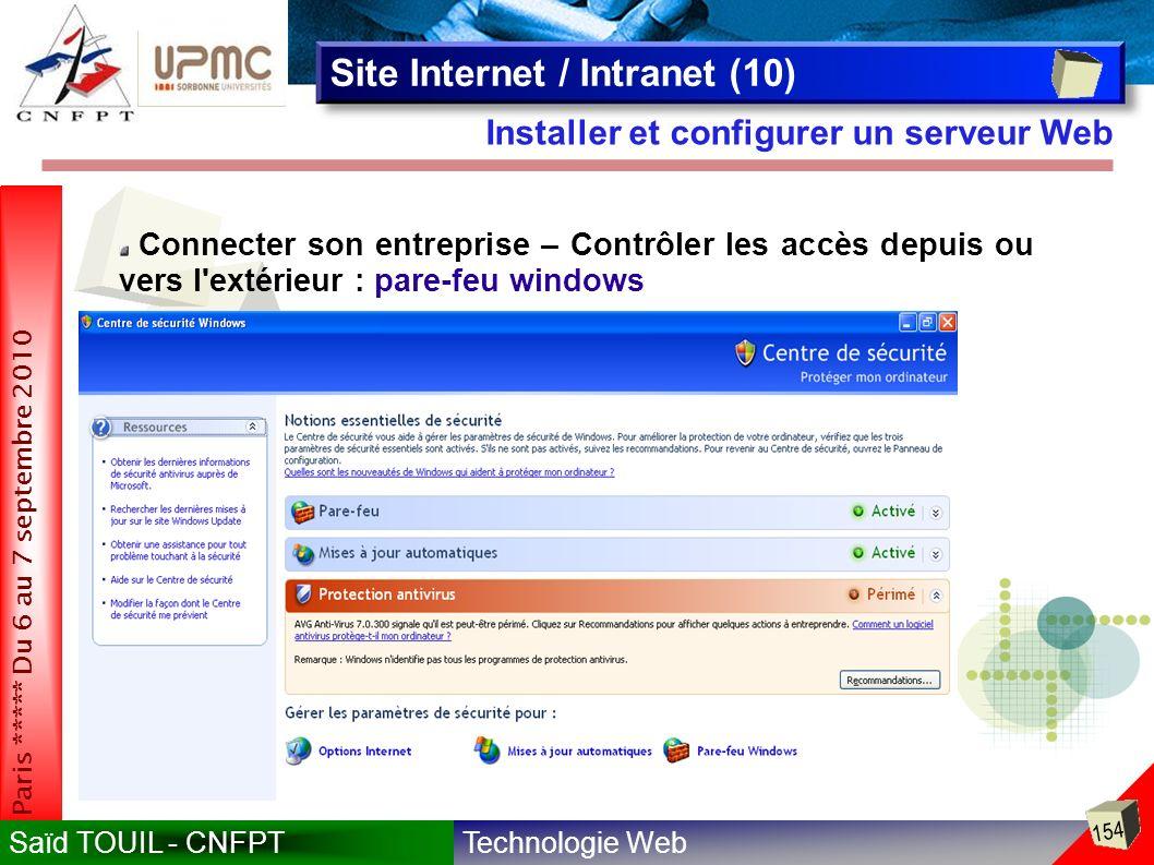 Technologie WebSaïd TOUIL - CNFPT 154 Paris ***** Du 6 au 7 septembre 2010 Installer et configurer un serveur Web Site Internet / Intranet (10) Connecter son entreprise – Contrôler les accès depuis ou vers l extérieur : pare-feu windows