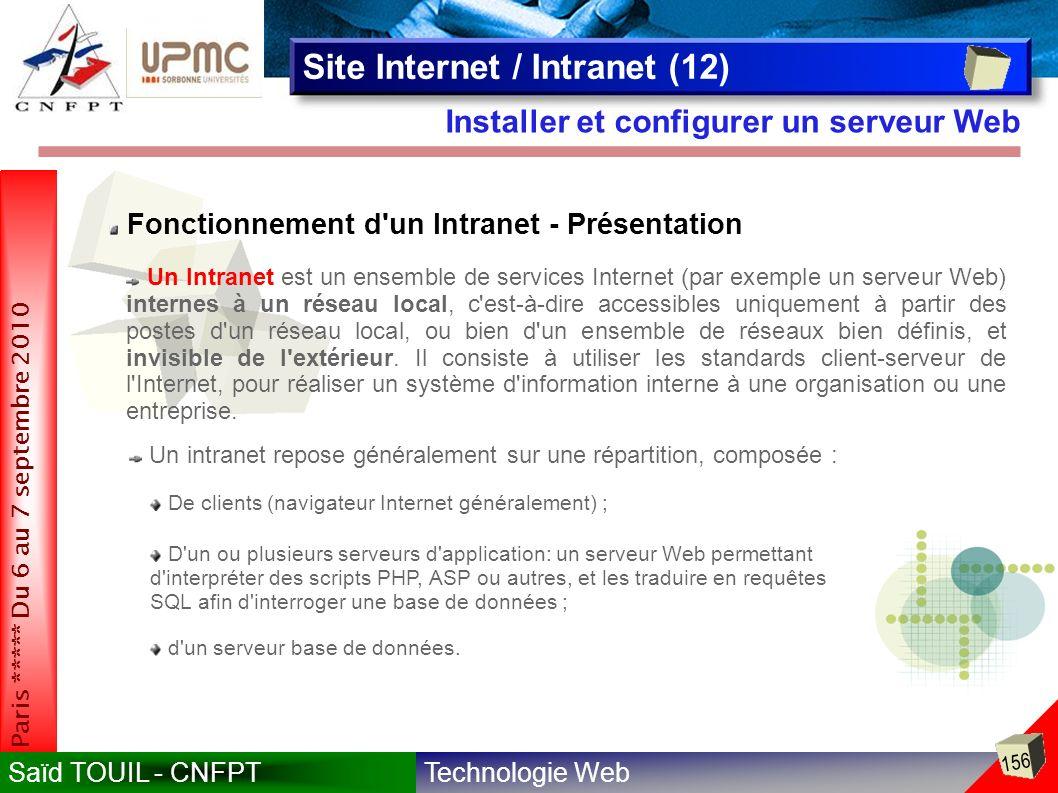Technologie WebSaïd TOUIL - CNFPT 156 Paris ***** Du 6 au 7 septembre 2010 Installer et configurer un serveur Web Site Internet / Intranet (12) Fonctionnement d un Intranet - Présentation De clients (navigateur Internet généralement) ; D un ou plusieurs serveurs d application: un serveur Web permettant d interpréter des scripts PHP, ASP ou autres, et les traduire en requêtes SQL afin d interroger une base de données ; d un serveur base de données.