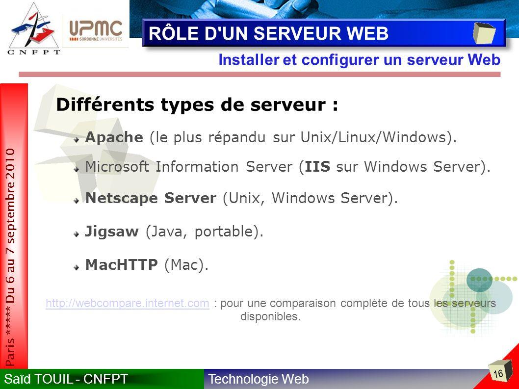 Technologie WebSaïd TOUIL - CNFPT 16 Paris ***** Du 6 au 7 septembre 2010 Installer et configurer un serveur Web RÔLE D UN SERVEUR WEB Différents types de serveur : Apache (le plus répandu sur Unix/Linux/Windows).