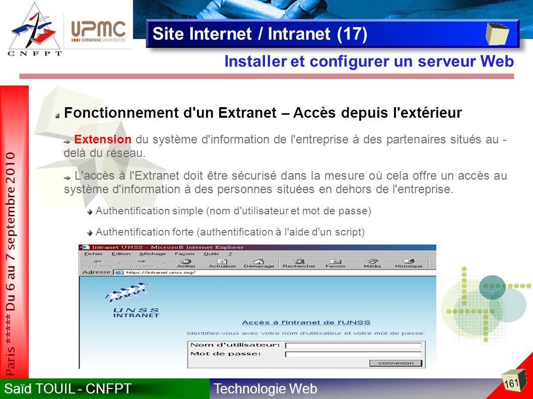 Technologie WebSaïd TOUIL - CNFPT 161 Paris ***** Du 6 au 7 septembre 2010 Installer et configurer un serveur Web Site Internet / Intranet (17) Fonctionnement d un Extranet – Accès depuis l extérieur Authentification simple (nom d utilisateur et mot de passe) Extension du système d information de l entreprise à des partenaires situés au - delà du réseau.