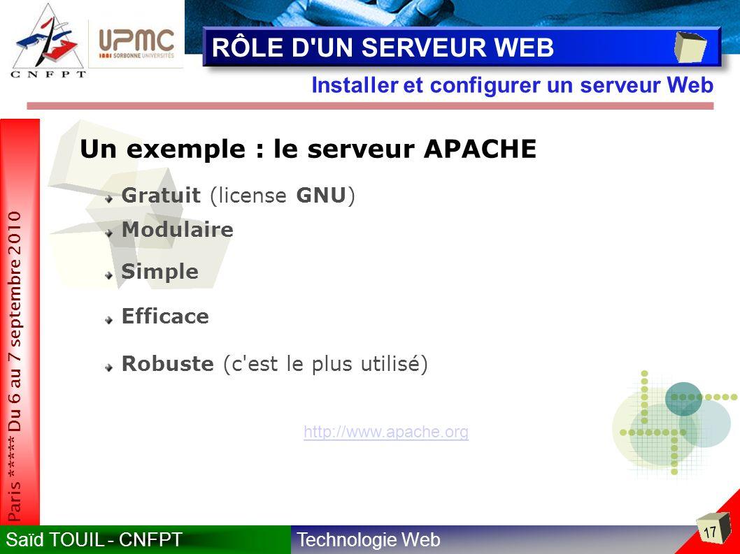 Technologie WebSaïd TOUIL - CNFPT 17 Paris ***** Du 6 au 7 septembre 2010 Installer et configurer un serveur Web RÔLE D UN SERVEUR WEB Un exemple : le serveur APACHE Gratuit (license GNU) Modulaire Efficace Simple Robuste (c est le plus utilisé) http://www.apache.org