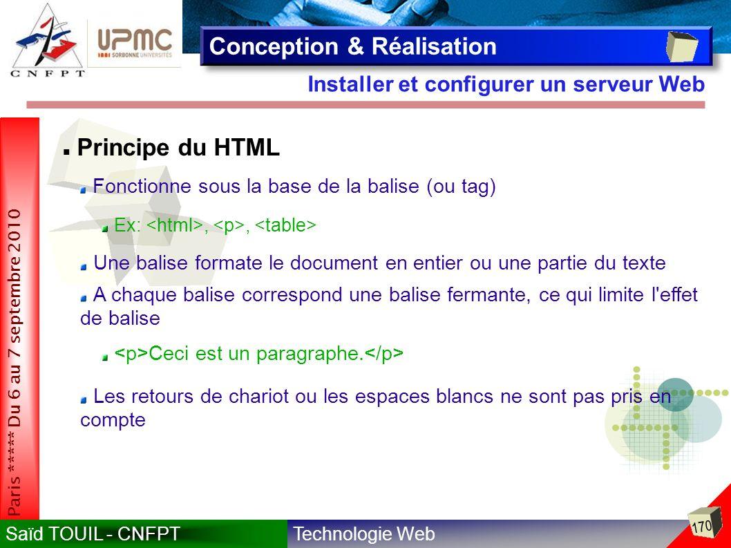 Technologie WebSaïd TOUIL - CNFPT 170 Paris ***** Du 6 au 7 septembre 2010 Installer et configurer un serveur Web Conception & Réalisation Fonctionne sous la base de la balise (ou tag) Ex:,, Ceci est un paragraphe.