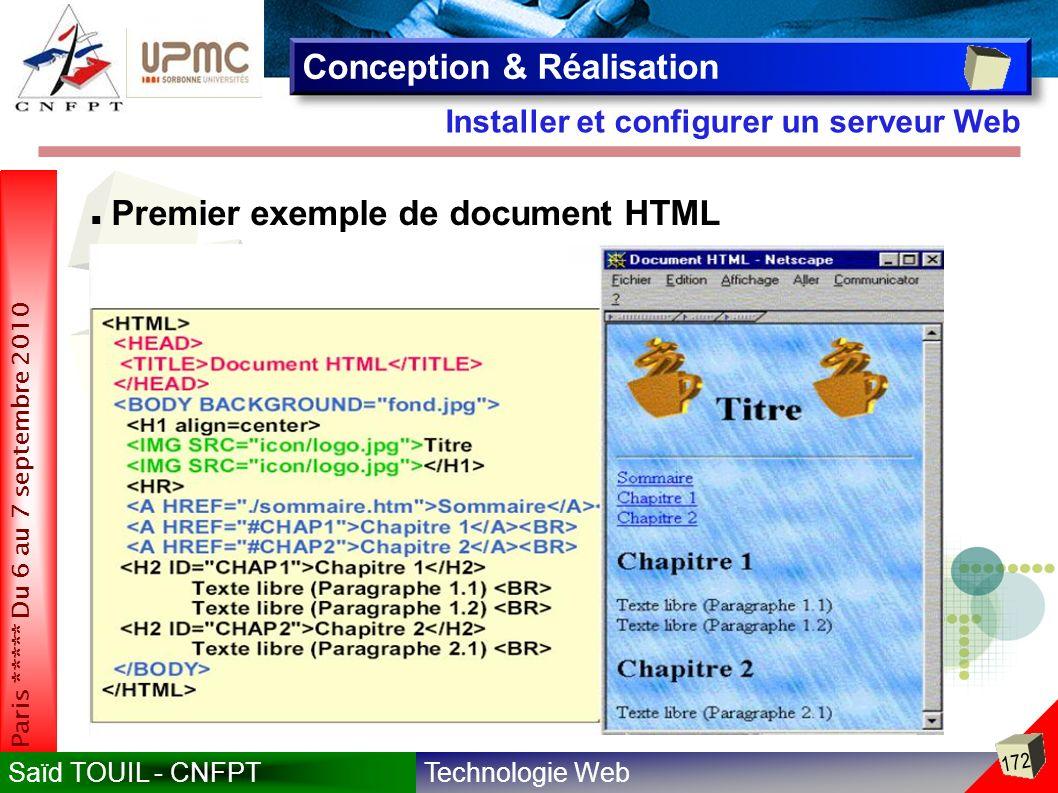 Technologie WebSaïd TOUIL - CNFPT 172 Paris ***** Du 6 au 7 septembre 2010 Installer et configurer un serveur Web Conception & Réalisation Premier exemple de document HTML