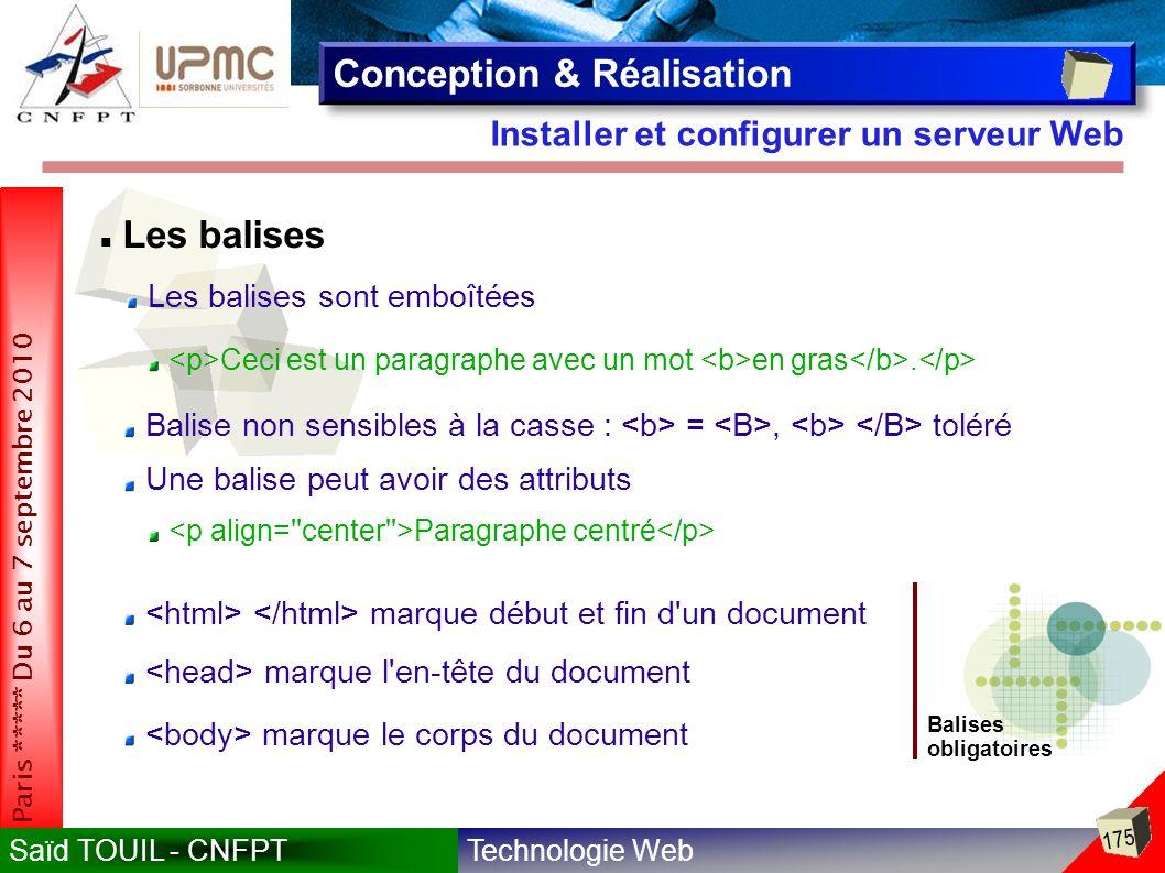 Technologie WebSaïd TOUIL - CNFPT 175 Paris ***** Du 6 au 7 septembre 2010 Installer et configurer un serveur Web Conception & Réalisation Les balises sont emboîtées Ceci est un paragraphe avec un mot en gras.