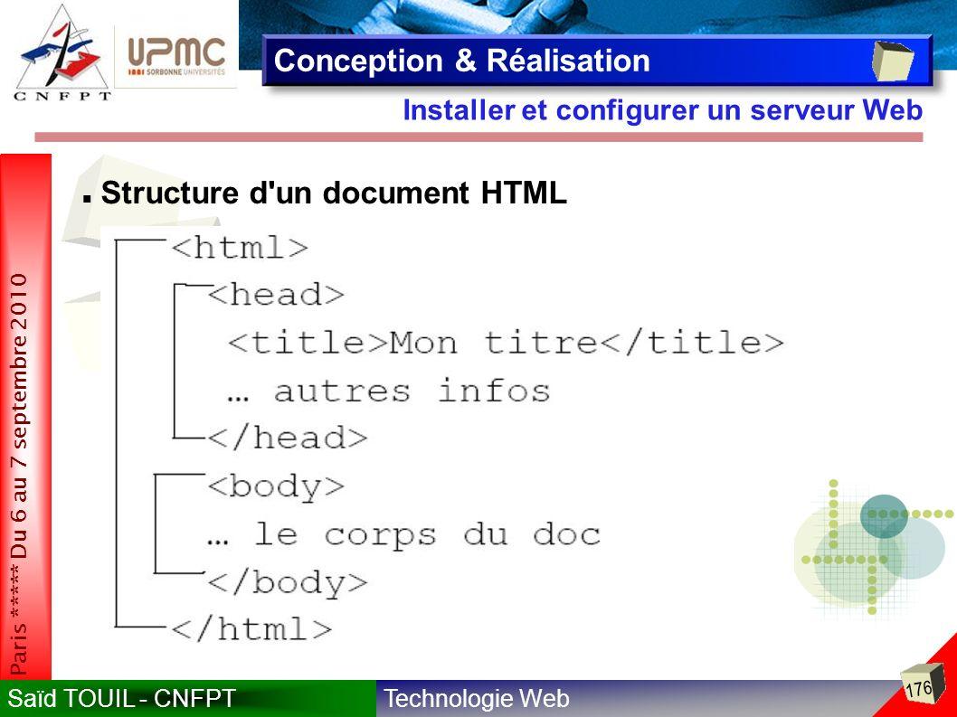 Technologie WebSaïd TOUIL - CNFPT 176 Paris ***** Du 6 au 7 septembre 2010 Installer et configurer un serveur Web Conception & Réalisation Structure d un document HTML