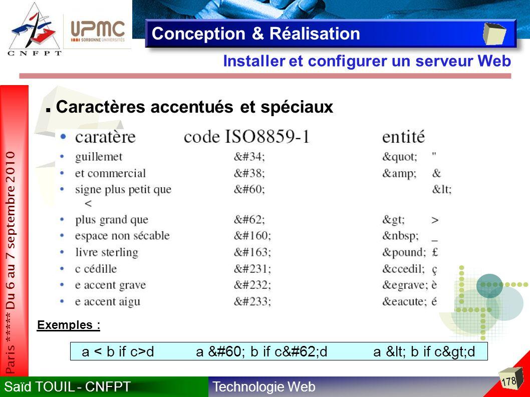 Technologie WebSaïd TOUIL - CNFPT 178 Paris ***** Du 6 au 7 septembre 2010 Installer et configurer un serveur Web Conception & Réalisation Caractères accentués et spéciaux Exemples : a d a < b if c>d a < b if c>d