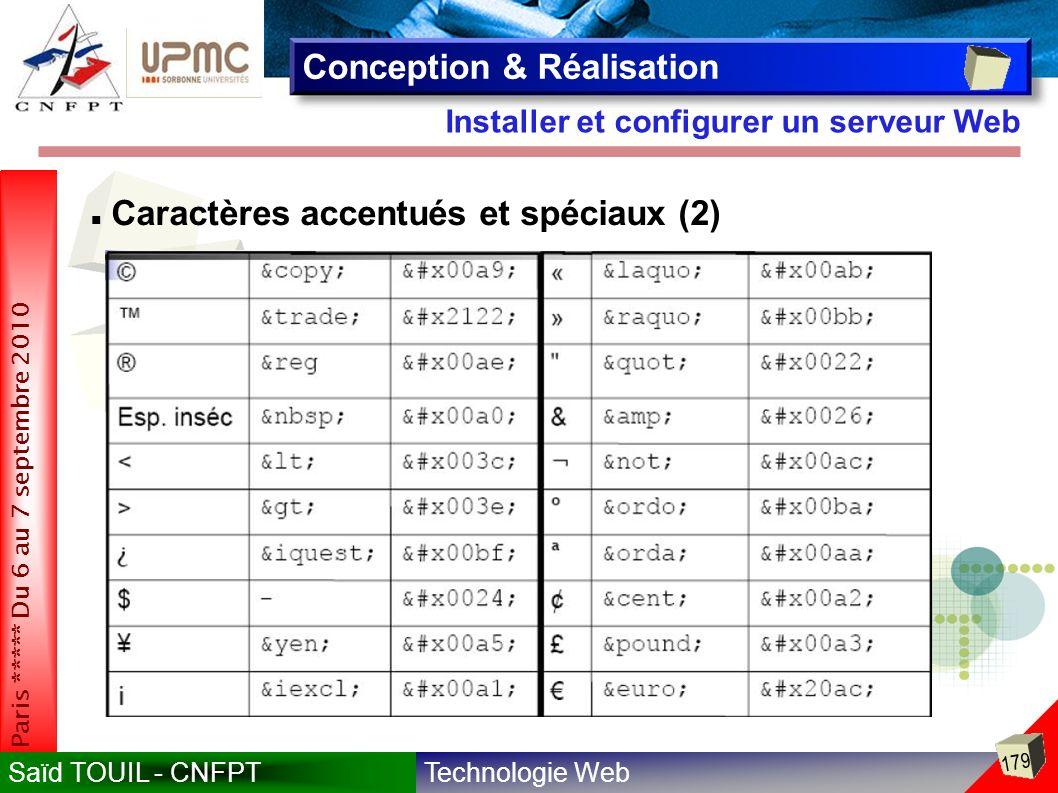 Technologie WebSaïd TOUIL - CNFPT 179 Paris ***** Du 6 au 7 septembre 2010 Installer et configurer un serveur Web Conception & Réalisation Caractères accentués et spéciaux (2)