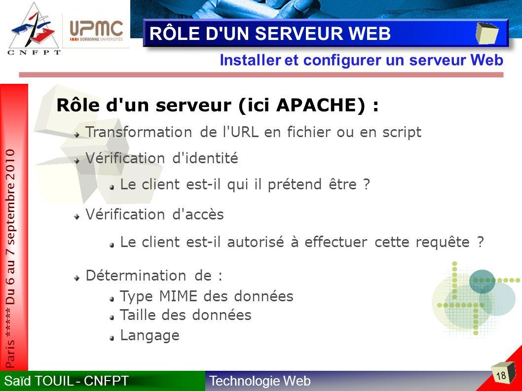 Technologie WebSaïd TOUIL - CNFPT 18 Paris ***** Du 6 au 7 septembre 2010 Installer et configurer un serveur Web RÔLE D UN SERVEUR WEB Rôle d un serveur (ici APACHE) : Transformation de l URL en fichier ou en script Vérification d identité Le client est-il qui il prétend être .