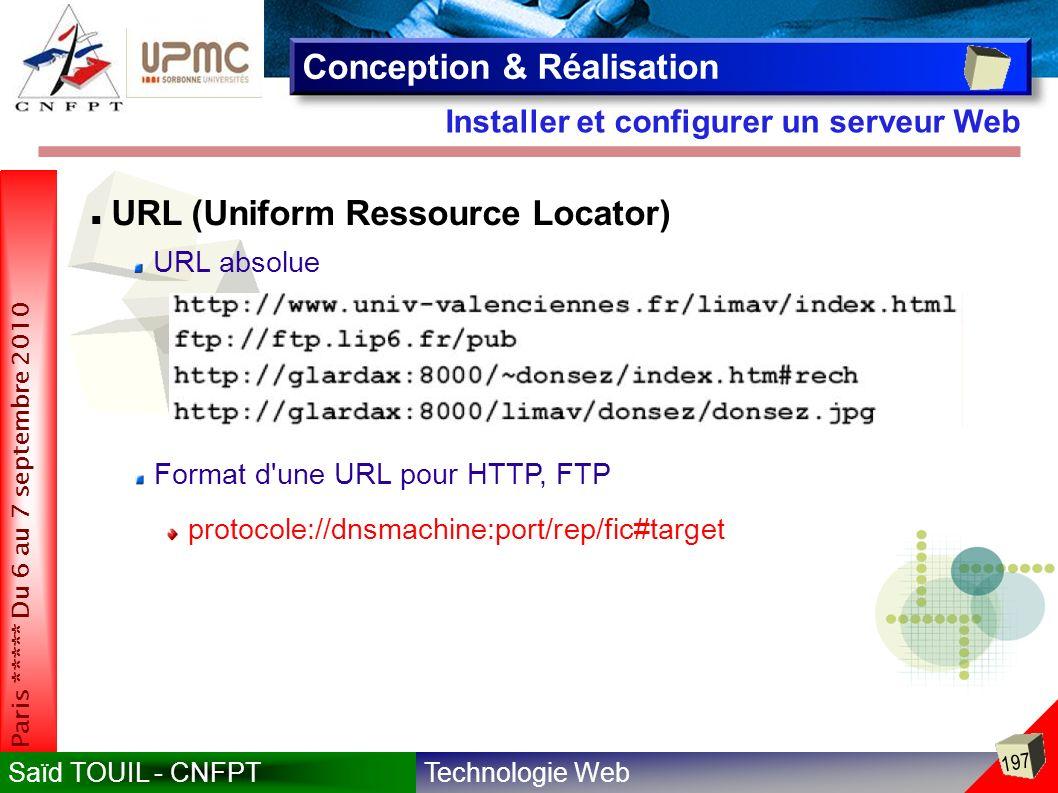 Technologie WebSaïd TOUIL - CNFPT 197 Paris ***** Du 6 au 7 septembre 2010 Installer et configurer un serveur Web Conception & Réalisation URL (Uniform Ressource Locator) URL absolue Format d une URL pour HTTP, FTP protocole://dnsmachine:port/rep/fic#target