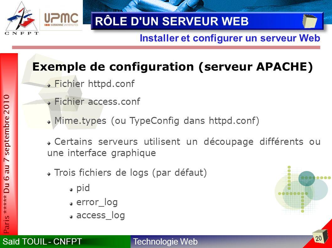Technologie WebSaïd TOUIL - CNFPT 20 Paris ***** Du 6 au 7 septembre 2010 Installer et configurer un serveur Web RÔLE D UN SERVEUR WEB Exemple de configuration (serveur APACHE) Fichier httpd.conf Fichier access.conf Mime.types (ou TypeConfig dans httpd.conf) Certains serveurs utilisent un découpage différents ou une interface graphique pid error_log access_log Trois fichiers de logs (par défaut)