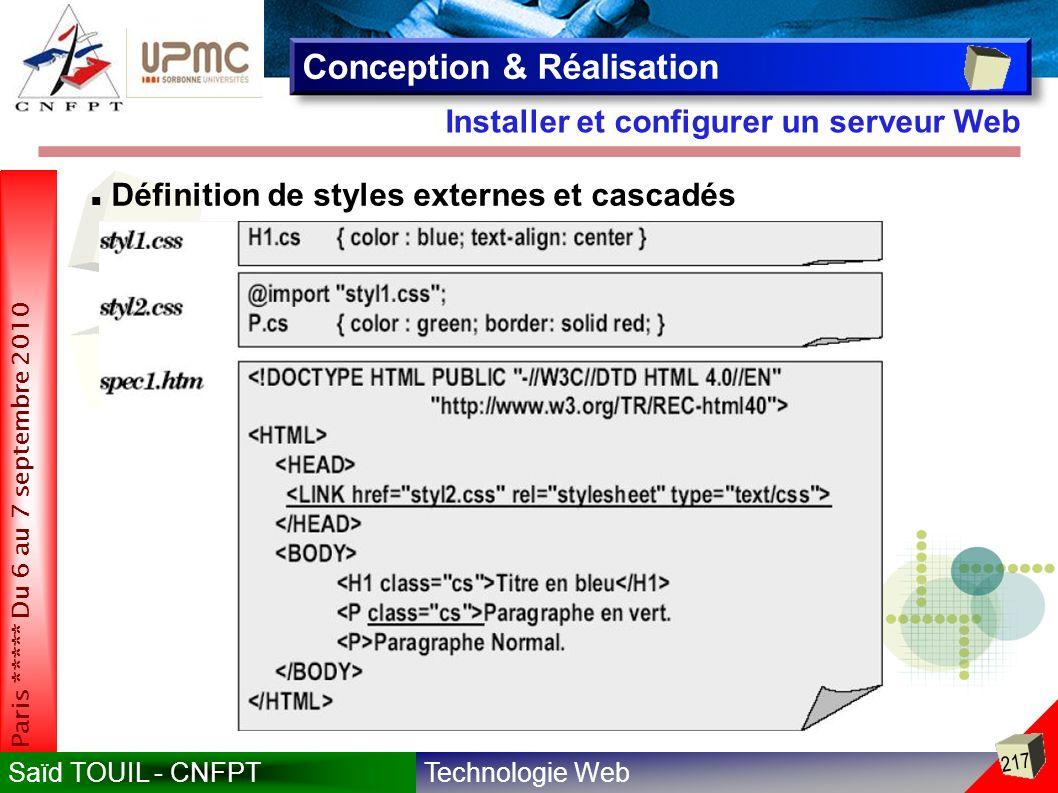 Technologie WebSaïd TOUIL - CNFPT 217 Paris ***** Du 6 au 7 septembre 2010 Installer et configurer un serveur Web Conception & Réalisation Définition de styles externes et cascadés