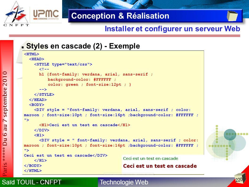 Technologie WebSaïd TOUIL - CNFPT 220 Paris ***** Du 6 au 7 septembre 2010 Installer et configurer un serveur Web Conception & Réalisation Styles en cascade (2) - Exemple