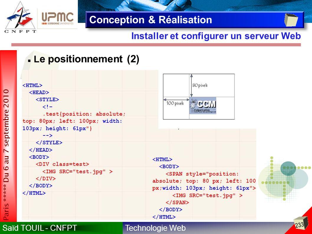 Technologie WebSaïd TOUIL - CNFPT 233 Paris ***** Du 6 au 7 septembre 2010 Installer et configurer un serveur Web Conception & Réalisation Exemple 2 : p ositionnement d une image L e positionnement (2)