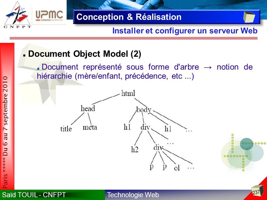Technologie WebSaïd TOUIL - CNFPT 237 Paris ***** Du 6 au 7 septembre 2010 Installer et configurer un serveur Web Conception & Réalisation Document Object Model (2) Document représenté sous forme d arbre notion de hiérarchie (mère/enfant, précédence, etc...)