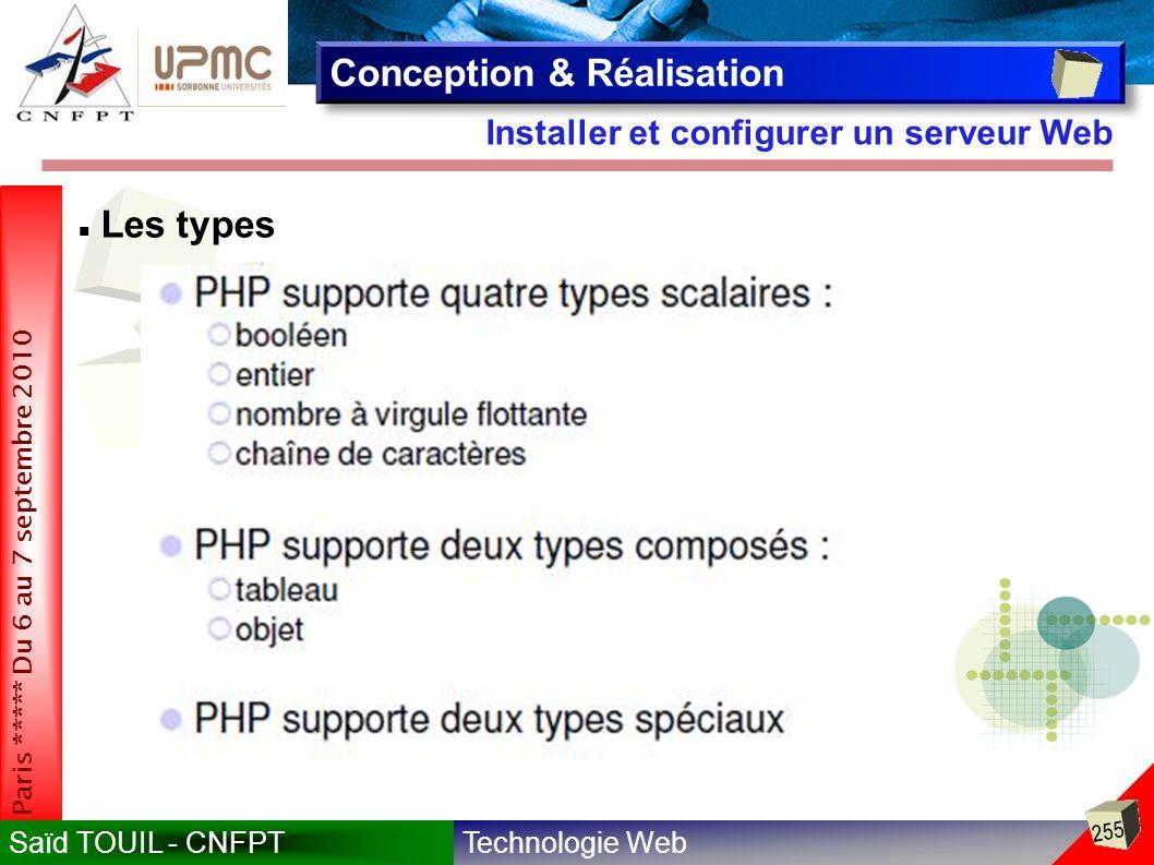 Technologie WebSaïd TOUIL - CNFPT 255 Paris ***** Du 6 au 7 septembre 2010 Installer et configurer un serveur Web Conception & Réalisation Les types